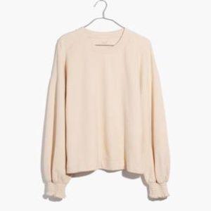 NWT Madewell Smocked-Cuff Sweatshirt